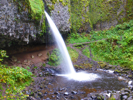 The Horsetail Falls Trail slips behind Ponytail Falls